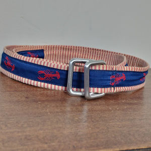 Brooks Brothers Lobster Fabric Leather Belt